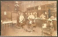 Council Bluffs IOWA~Real Photo RPPC Two Barbers Barber Shop Interior~Occupation