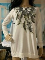 Miley Cyrus Max Azria Size X Large Long Sleeve Ivory Feather Print Shirt Top