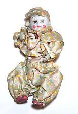 Vintage Baby Clown Harlequin Pierrot Jester Doll Ceramic Head Hands & Feet 10in