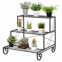 3 Tier Outdoor Metal Plant Stand Flower Planter Garden Display Holder Rack Shelf