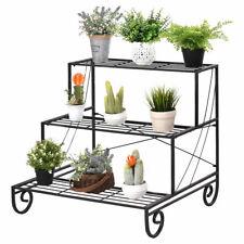 3 Tier Outdoor Metal Plant Stand Flower Planter Garden Display Holder Rack Shelf