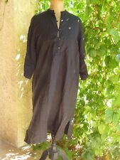 ROBE SAHARIENNE TUNIQUE EN LIN NOIR MAXMARA WEEK END T F 48 USA 14 GB 16 EN TBE