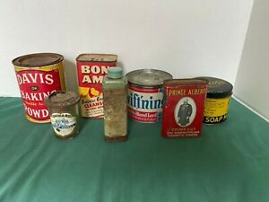 Group Of Old Advertising Tins 7 Total