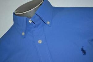 18733-a Polo Ralph Lauren Button Up Dress Shirt Dry Fit Polyester Large Mens