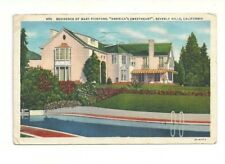 RESIDENCE OF MARY PICKFORD, AMERICA'S SWEETHEART, BEVERLY HILLS, CA. POSTCARD