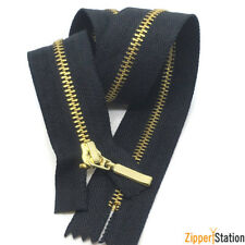 Black Zip with Metal Gold Teeth. Closed End  No 3 Brass Zips. 60cms to 10cms