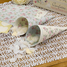 10 CONFETTI CONES and HEART STICKERS Ivory Blue Floral Roses WITH LOVE Wedding