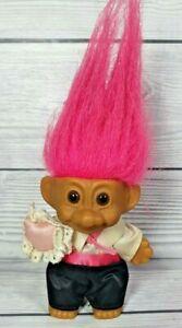 Vintage Troll Doll Ring Bearer Russ 8.3cm tall Pink Hair