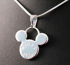 Silver Mickey Mouse Head 1928 Pendant Necklace w/Free Jewelry Box and Shipping