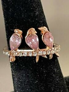 Estate Find 3 Birds on a Wire Pink Topaz w CZ Accents Rose Gold Plated