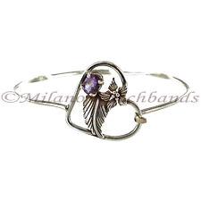 Hand Made Amethyst Stone Sterling Silver Heart Flower Shape Spring Hook Bracelet