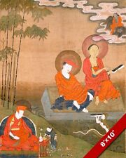 NAGARJUNA & ARYADEVA BUDDHIST SCHOLARS OF INDIA PAINTING ART REAL CANVAS PRINT