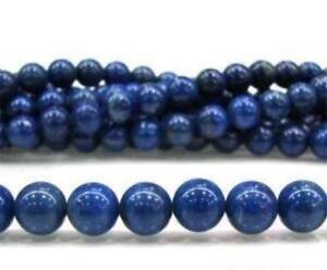 "8mm Blue Egyptian Lazuli Lapis Gemstone Round Smooth Loose Beads 15"" Strand"