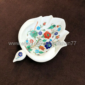Fruit Bowl Marble Inlay Mid Century Modern Leaf Shaped White Serving Platter