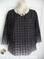 J.CREW Medium M Blouse Top Black w/ White Polka Dots RETRO LOOK 3/4 Sleeves WoW