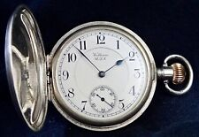 19 Jewels RIVERSIDE Waltham Working  Solid Silver 2OZ Case Hunter Pocket Watch