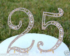 "5"" Rhinestone Gold Number Twenty Five Bling Cake Topper 25 Birthday Anniversary"