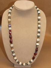 """VTG Tribal Turkoman Banded Agate Ball Dyed Horn Wood Disc Bead Necklace 5oz 30"""""""