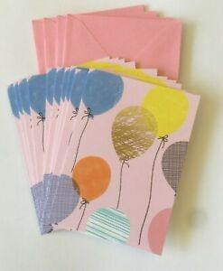 Hallmark Blank Notecards ~ Pink Pastel w/ Balloons ~ Pack 0f 10 w/ Envelopes