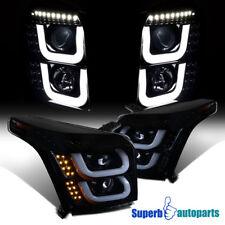 For 2015-2018 Yukon/Yukon XL LED Bar Glossy Black Signal Projector Headlights