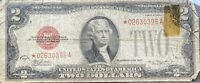 USA 2 Dollar 1928 D United States Note Red Seal * STAR NOTE * Banknote #22041