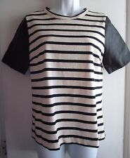 J.Crew Leather Sleeve Navy Ivory Striped Top $148 Sold Out Sz S
