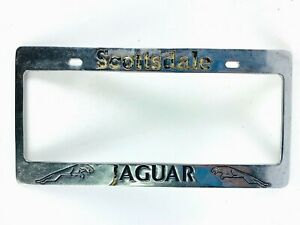 Vintage Dealer License Plate Frame Scottsdale Jaguar Arizona Chrome Cat Garage