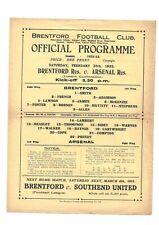 More details for brentford res. v arsenal res. 1932/33