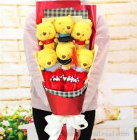 Bunch of 6 Winnie the Pooh Dolls Toys flowers Xmas Birthdaay Creative Gift Box