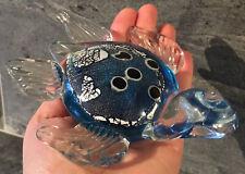 MURANO ? Hand Blown Glass Aqua Blue Black Silver Shimmer Clear Turtle LUXURIOUS