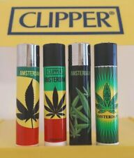 Clipper Lighters x4 Rare Cool Amsterdam Leaf Smoking Weed Leaves New Gift Green
