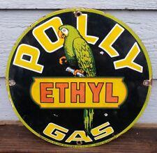 VINTAGE 1951 POLLY ETHYL GASOLINE PORCELAIN ENAMEL GAS PUMP SIGN