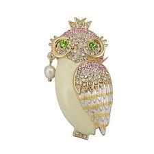 Vintage Gold Rhinestone Crown Large Owl  Brooch Pin Animal Jewelry