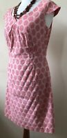 Pepperberry Size 8 SC Geometric Print Coral/Peach Shift Casual Day Evening Dress