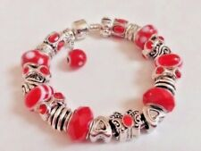 """European Style Bracelet with Murano,Rhinestones,Faceted Beads,Barrel Clasp,7.5"""""""