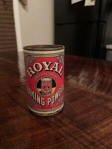 Vintage ROYAL BAKING POWDER TIN Colorful Red Paper Label Food Advertising