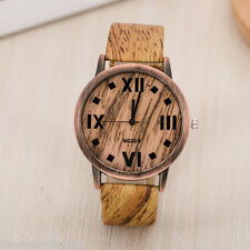 Wood Style Stripe Watches Women's Fashion Vintage Waterproof Faux Leather Watch