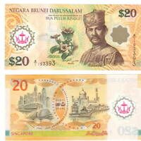 BRUNEI UNC $20 Ringgit / Dollars Banknote (2007) P-37 POLYMER Money A/1 Prefix