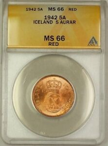 1942 Iceland 5A Five Aurar Copper Coin ANACS MS-66 Red GEM BU (C)