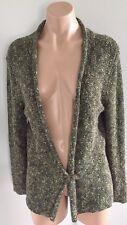 Womens J Jill Knit Cardigan Sweater Size Medium M Crochet Green Brown Longsleeve