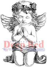 Deep Red Stamps Guardian Angel Rubber Cling Stamp