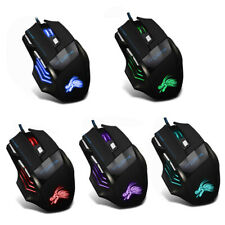 5500 DPI 7 Buttons Gaming Mouse Backlight Optical USB Wired Mice For Laptop PC ~