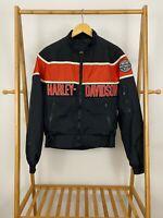 Harley-Davidson Men's Spellout Striped Full Zip Riding Windbreaker Jacket Size S