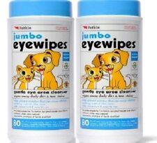 """JUMBO EYE WIPES x160 - (80wipes x2) - 7 x 5"""" Petkin Dog Cat Cleaning Wet bp Wipe"""