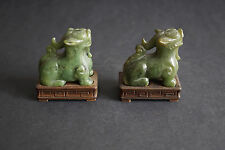 Pair of Old Chinese Green Jade Carved Foo Dog