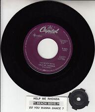 """THE BEACH BOYS Help Me Rhonda & Do You Wanna Dance 7"""" 45 + juke box strip NEW"""