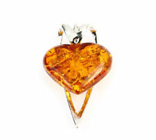 925 Sterling Silver & Baltic Amber Jewellery - GL272 - Heart Designer Pendant