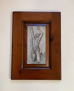 Original Male Nude Painting Drawing Signed On Cherry Wood