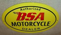 "VINTAGE BSA MOTORCYCLE DEALER 12"" METAL GASOLINE OIL SIGN BIRMINGHAM SMALL ARMS!"