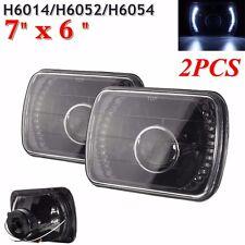 2x 7x6 H6054 Black Housing White LED Projector Headlight 8000K H4-2 Xenon HID